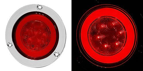 """PLAFON 4"""" PLANO BRIDA CROMO 6 LED LUZ GEL CON FUNCIONES ROJO"""