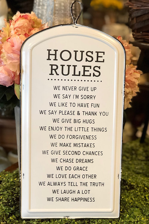 House Rules - Metal Sign
