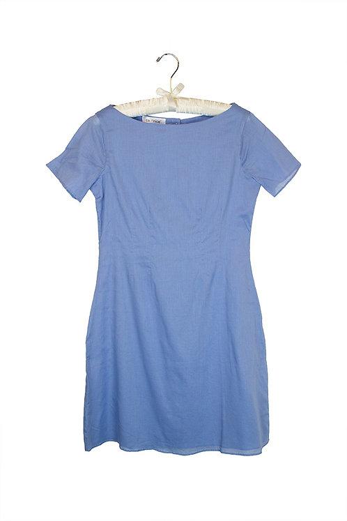 blue voile shortsleeve dress