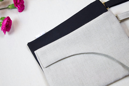 curved cover purse pinpoint oxford