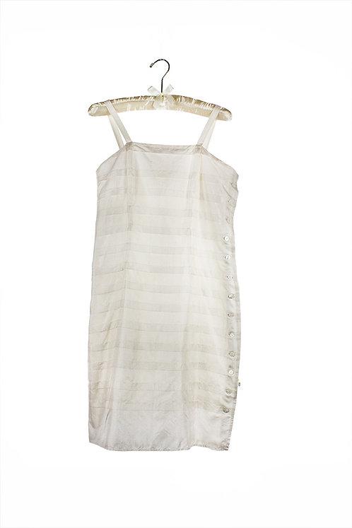 silk horizontal pleated dress