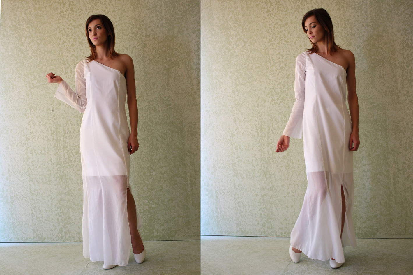 One Shoulder Voile Gown