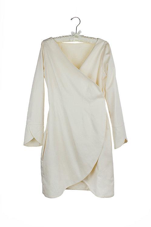 organic cotton sateen wrap dress