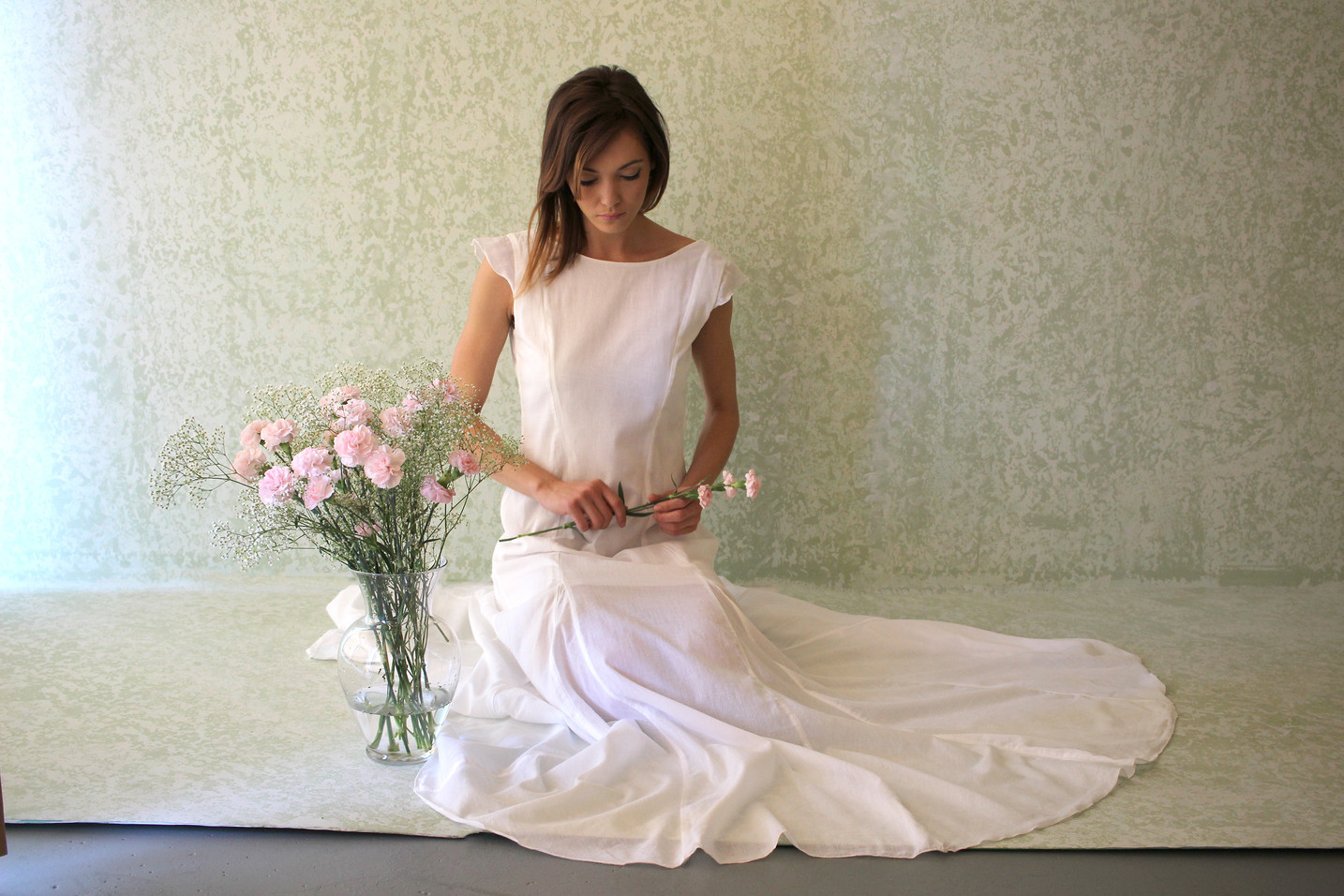 Capsleeve Voile Gown