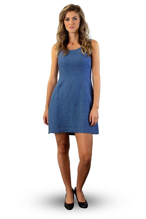 hand-loom organic linen A-line dress