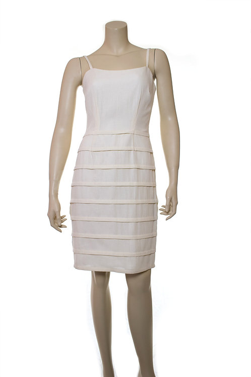 horizontal pleated mock leno dress