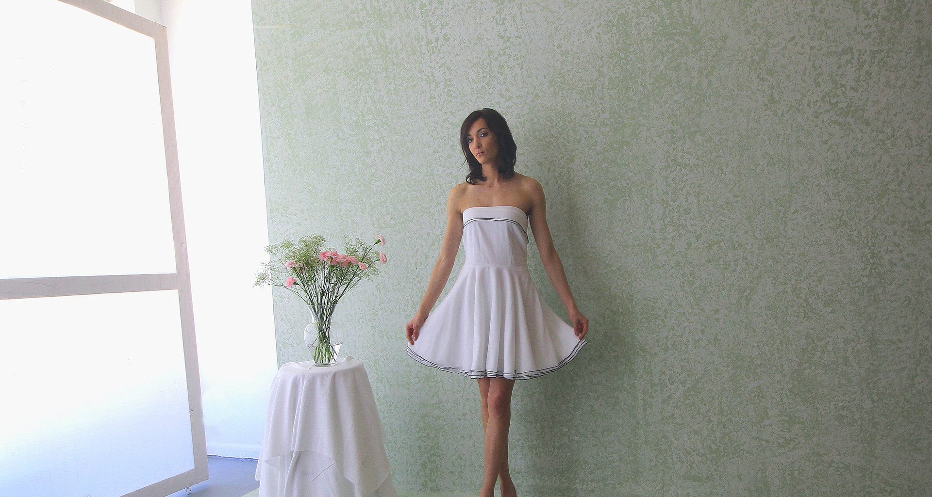 four layer voile gathered skirt with trim   model Taylor . photo Gia