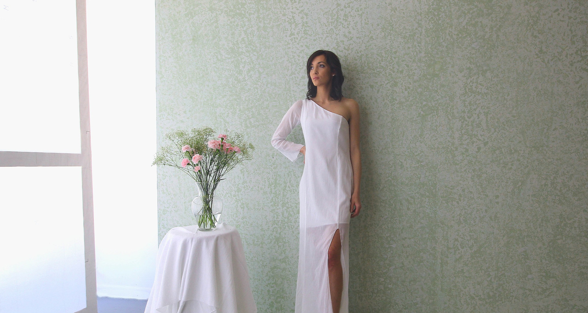 one arm off shoulder gown with knee slit  model Taylor . photo Gia