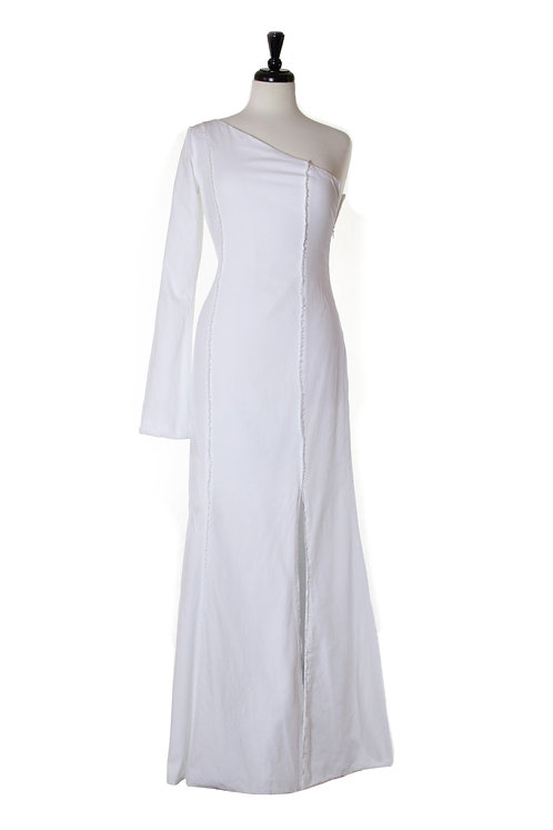 long sateen selvedge dress