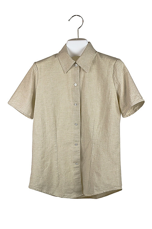fitted short sleeve natural cotton shirt