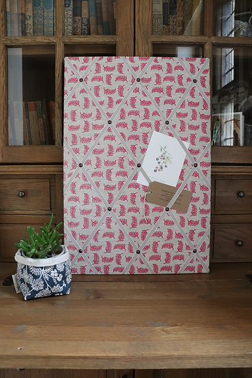 Pink Achillea Foliage Fabric Notice Board
