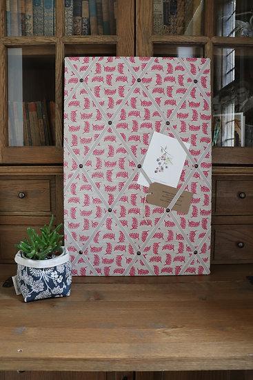 Pink Achillea Foliage Fabric Notice Board