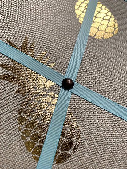 60x50cm LUXURY Golden Pineapple Fabric Notice Board With Baby Blue Ribbon