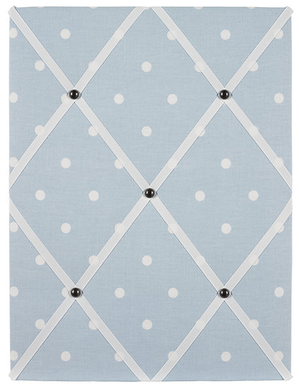 Baby Blue Polka Dot Fabric Notice Board (many ribbon colours)