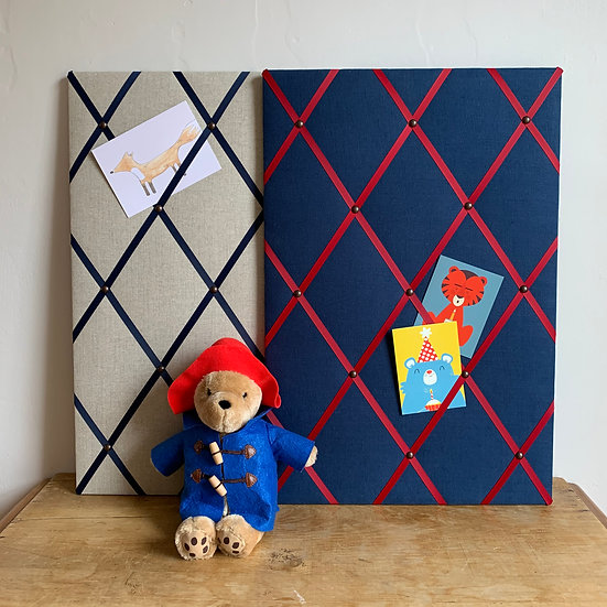 Dark blue Linen Fabric Notice Board (many ribbon colours)