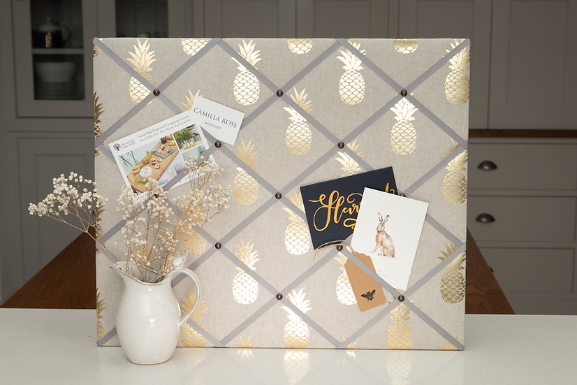 LUXURY Golden Pineapple Fabric Notice Board (many ribbon colours)