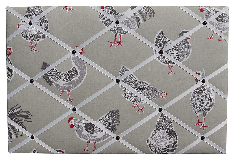 Sage Chicken Fabric Notice Board (many ribbon colours)