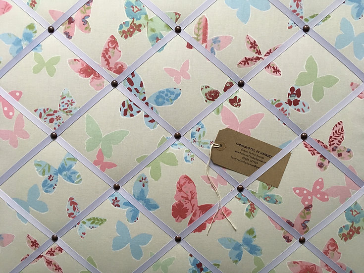 Butterfly Fabric Notice Board (many ribbon colours)