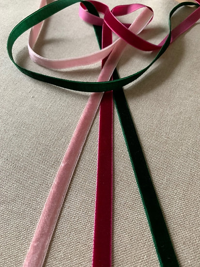 Velvet ribbons on Linen Fabric Notice Board