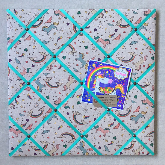 Unicorn Fabric Notice Board (many ribbon colours)