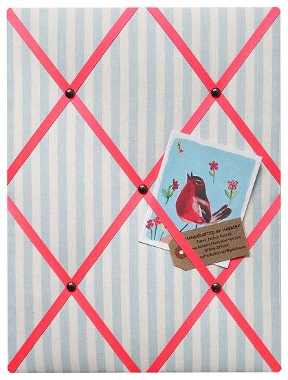 Blue Stripe Fabric Notice Board (many ribbon colours)