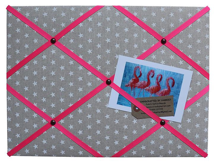 Linen Stars Fabric Notice Board (many ribbon colours)
