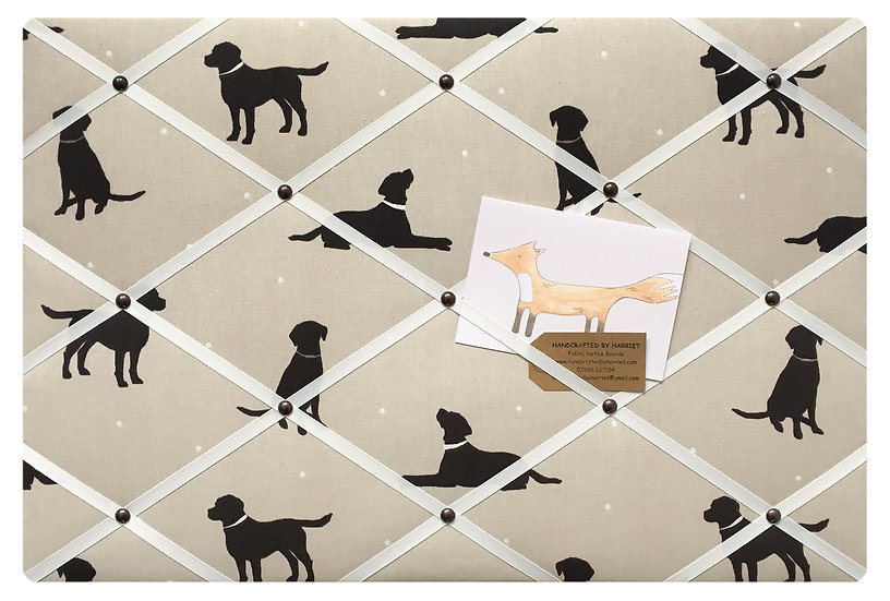 Black Labrador Fabric Notice Board (many ribbon colours)