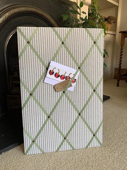 Grey Linen Ticking Stripe Fabric Notice Board (many ribbon colours)