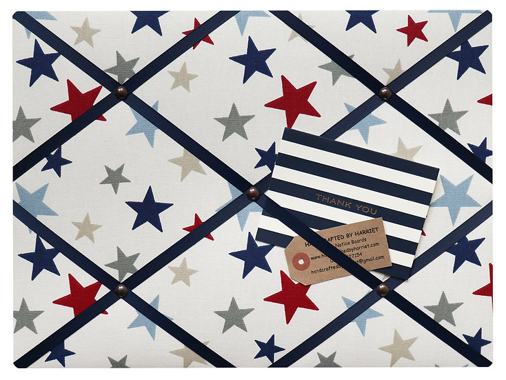 Red, blue and grey stars Fabric Notice Board (many ribbon colours)