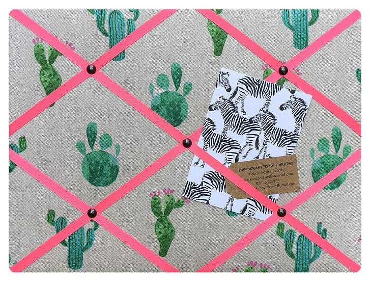 Cactus Fabric Notice Board (many ribbon colours)