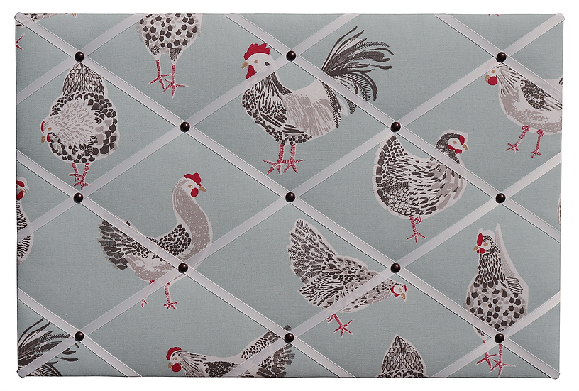 Duck Egg Chicken Fabric Notice Board (many ribbon colours)