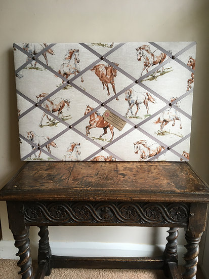 Wild Horses Fabric Notice Board (many ribbon colours)