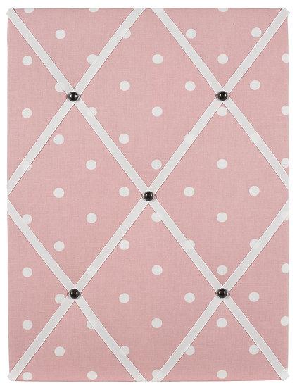 Baby Pink Polka Dot Fabric Notice Board (many ribbon colours)