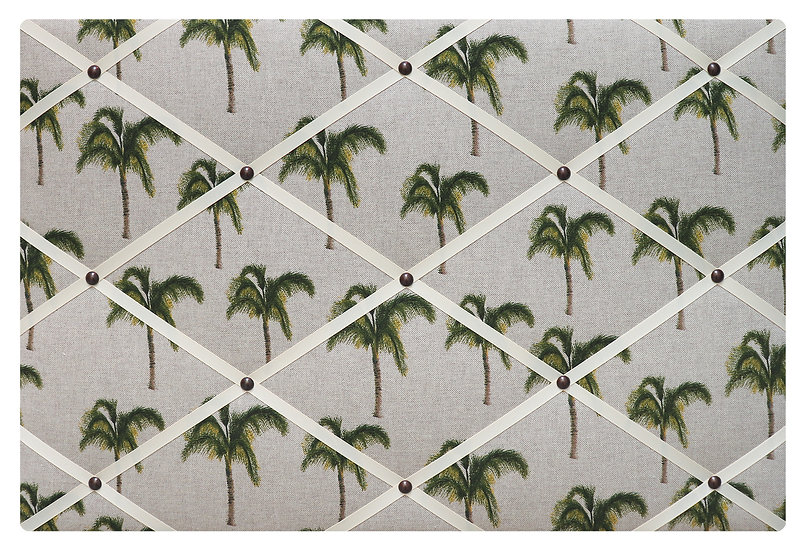 Palm Tree Fabric Notice Board (many ribbon colours)