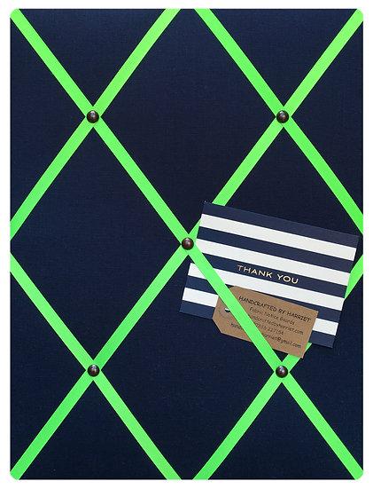 Navy Linen Fabric Notice Board (many ribbon colours)