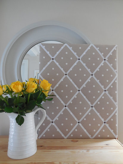 Taupe Polka Dot Fabric Notice Board