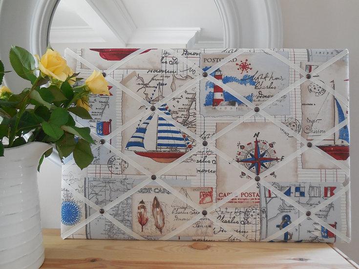 Sailing Fabric Notice Board (many ribbon colours)