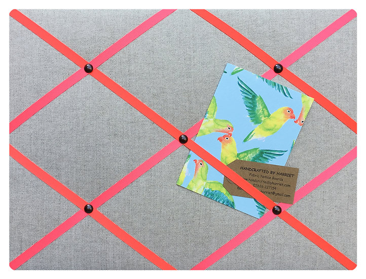 Neon Linen Fabric Notice Board (many ribbon colours)