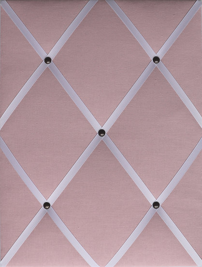 Baby Pink Linen Fabric Notice Board (many ribbon colours)