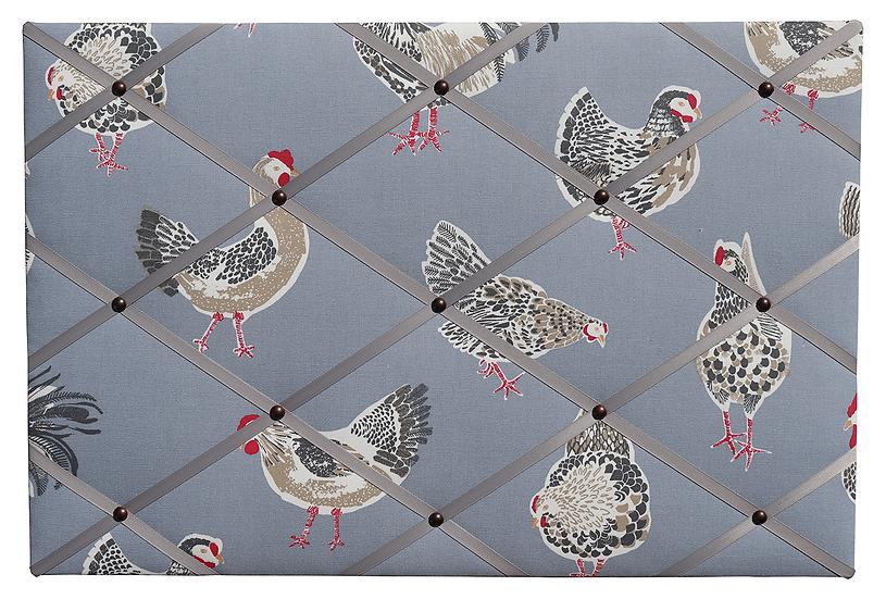 Denim Chicken Fabric Notice Board (many ribbon colours)