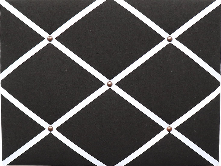 Black Fabric Notice Board (many ribbon colours)
