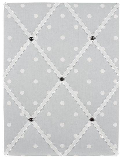 Grey Polka Dot Fabric Notice Board (many ribbon colours)