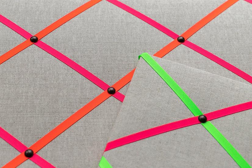Neon Linen Fabric Notice Board (many ribbon colours)