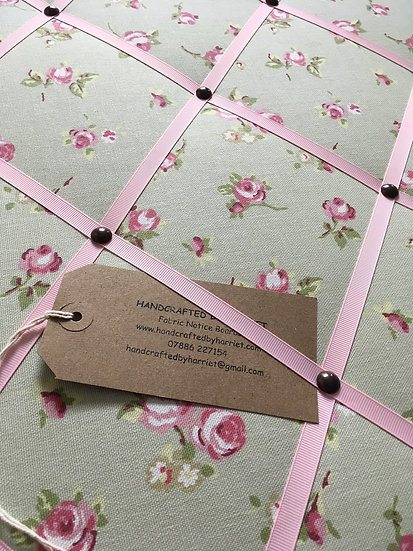 Sage Rosebud Fabric Notice Board (many ribbon colours)