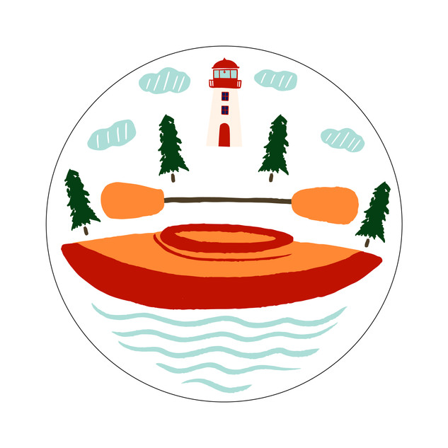Parks Canada Sticker Design-Marine Conservation Series-Canoe
