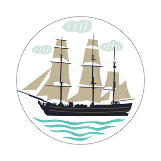 Parks Canada Sticker Design-Historic Site Series-Sailing Boat