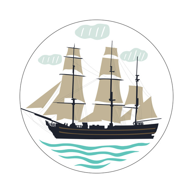 Parks Canada Sticker Design-Historic Site Series-Sailing Boat