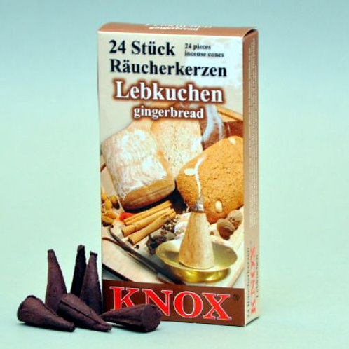 "#013-250 - Famous KNOX Brand ""Gingerbread"" Incense Cones - Box of 24"