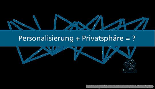 """Ein Netzwerk aus verschiedenen Personen auf der einen Seite und mehreren Unternehmen auf der anderen Seite. Die Verbindungslinien zwischen Personen und Unternehmen sind überdeckt von der Gleichung """"Personalisierung + Privatsphäre = ?""""."""