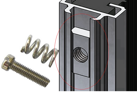 Half thread bolt + spring
